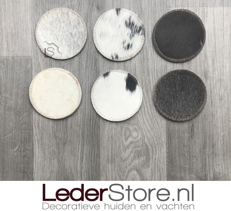 Luxury cowhide coasters mix colors 10x10cm