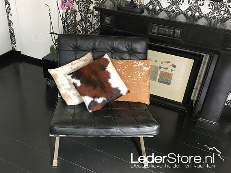Koeienhuid kussens zwart bruin wit grijs