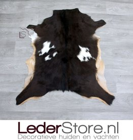 Goatskin rug brown white beige 80x70cm