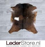 Goatskin rug brown white 80x65cm