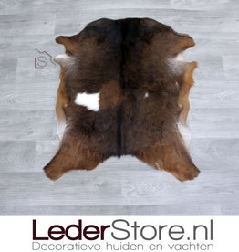 Goatskin rug brown white 80x65cm
