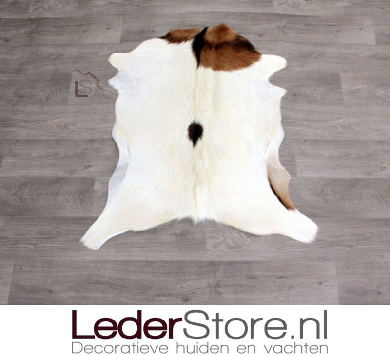 Goatskin rug brown creme black 85x75cm