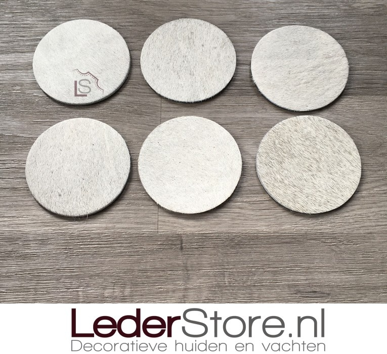 Cowhide coasters grey white 10x10cm