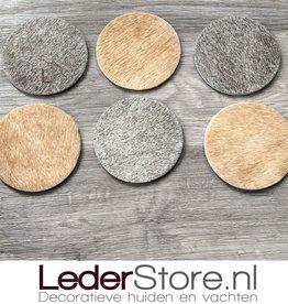 Cowhide coasters beige grey white 10x10cm