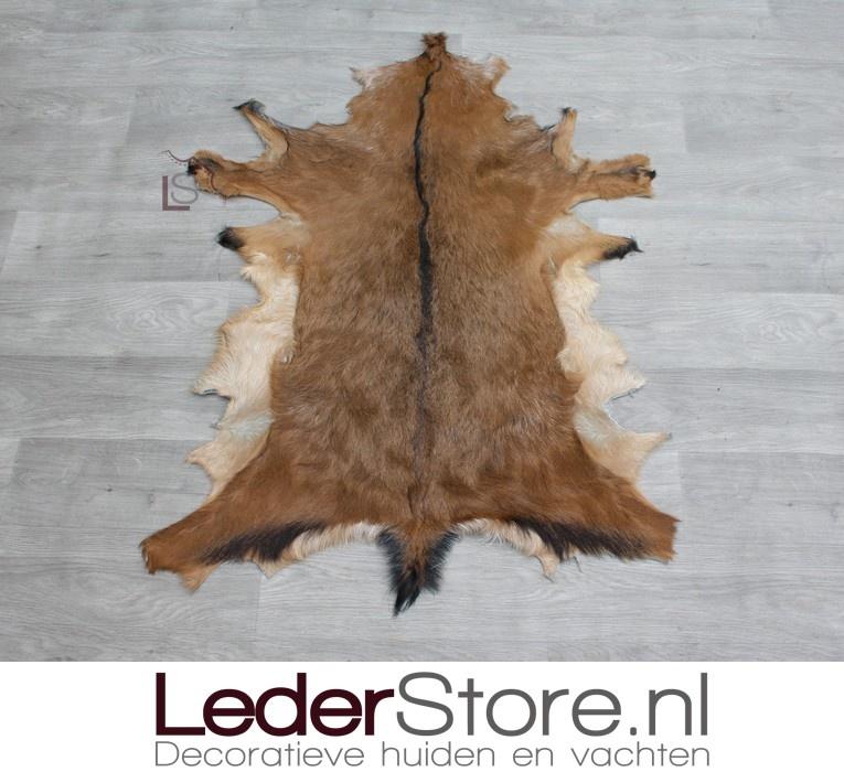 Goatskin rug brown black brown 80x75cm