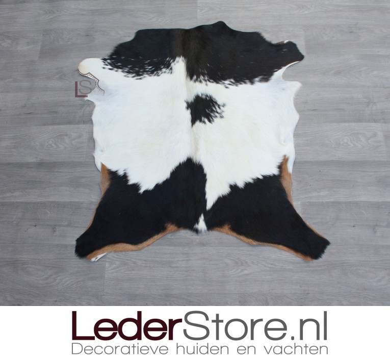 Goatskin rug brown black white 85x80cm