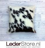 Cowhide pillow black white brown Normandier tricolor 40x40cm
