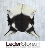Goatskin rug brown white 85x85cm