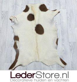 Goatskin rug brown white 95x75cm