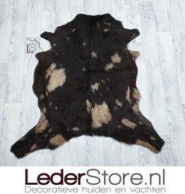 Goatskin rug beige brown 90x90cm