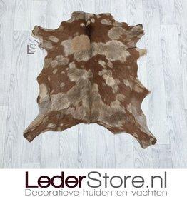 Goatskin rug beige brown 75x75cm