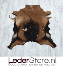 Goatskin rug brown black beige 80x80cm