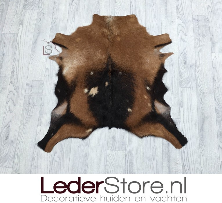 Goatskin rug brown black beige 80x80cm