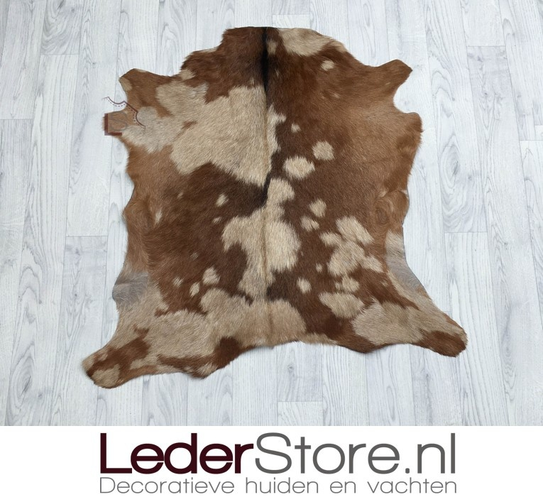 Goatskin rug brown beige 80x85cm