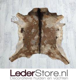 Goatskin rug brown beige 80x80cm