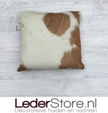 Cowhide pillow brown white 40x40cm