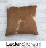 Cowhide pillow brown white 40x40cm