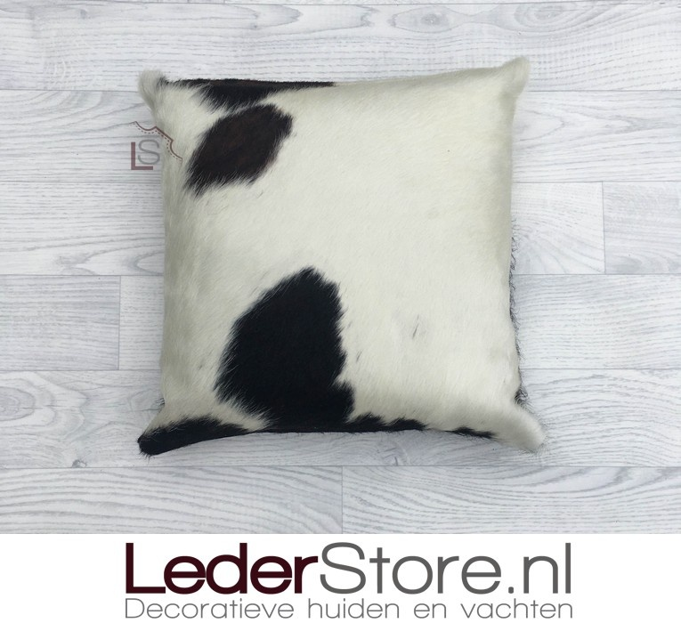 Cowhide pillow black white brown Normandier tricolor 40x40cm