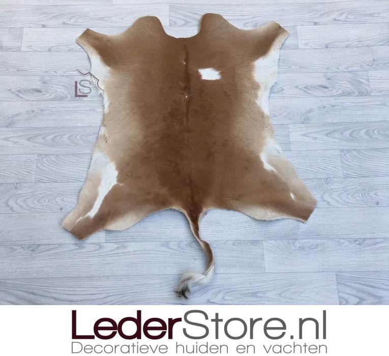Calfhide rug brown white 100x80cm