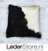 Cowhide pillow black brown white Normandier 50x50cm