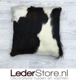 Cowhide pillow black brown white Normandier 50x50cm