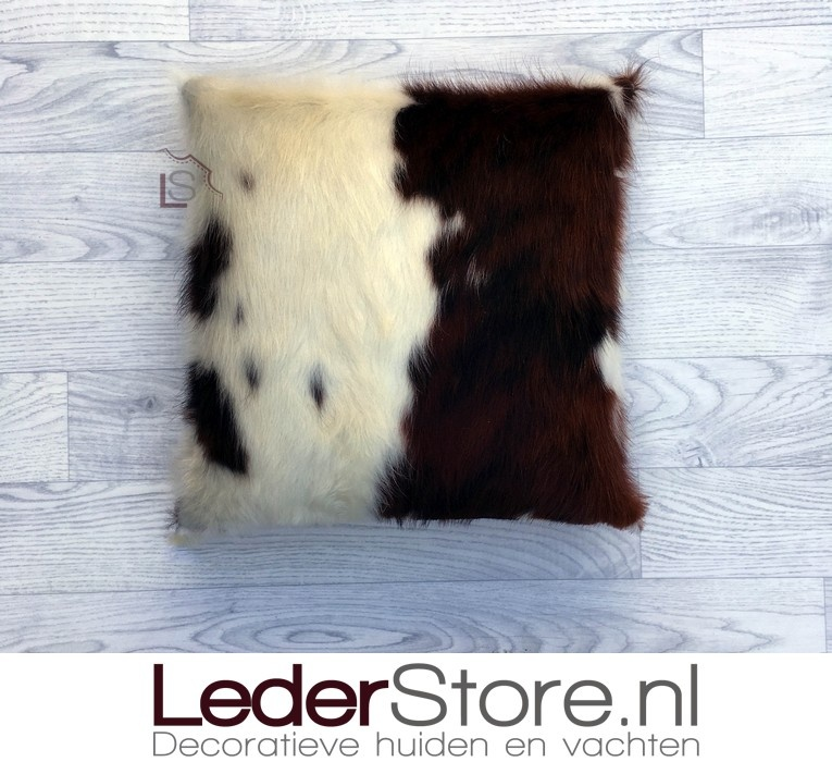 Koeienhuid kussen bruin zwart wit normandier 40x40cm