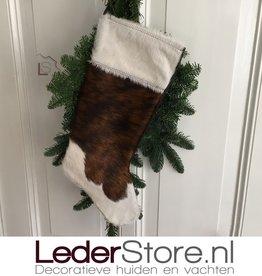 Koeienhuid kerstsok bruin zwart wit 50x24cm