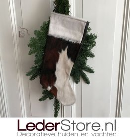 Cowhide Christmas stocking brown black white 50x24cm