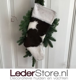 Cowhide Christmas stocking brown white 50x24cm