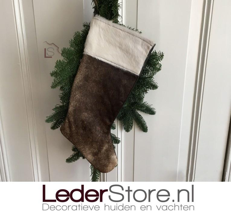 Koeienhuid kerstsok bruin beige 50x24cm