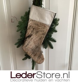 Cowhide Christmas stocking brown black beige 50x24cm