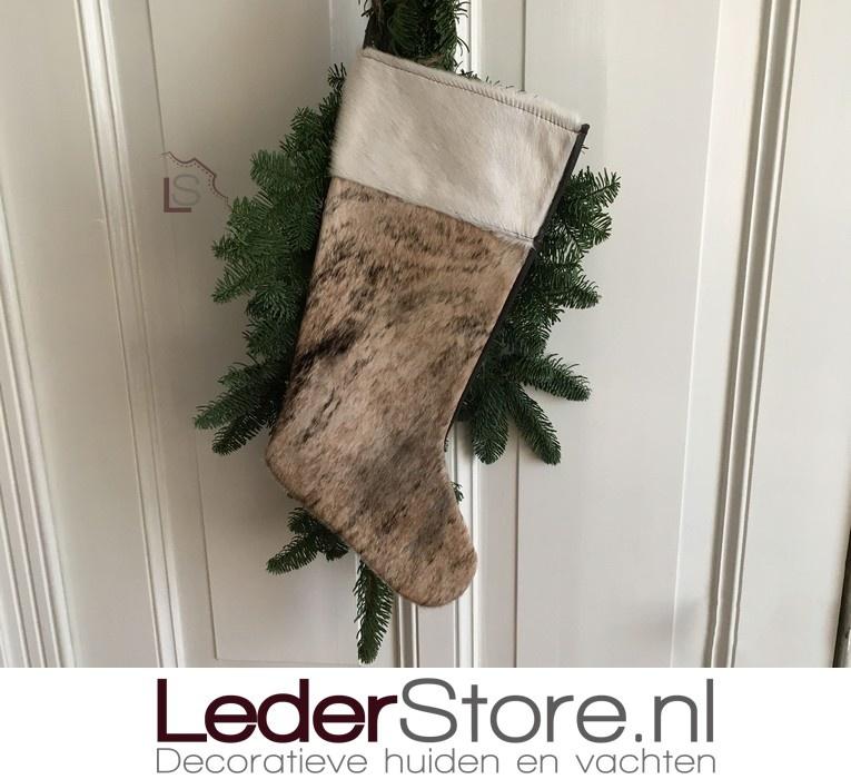 Koeienhuid kerstsok bruin zwart beige 50x24cm