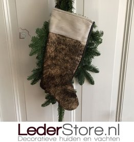 Cowhide Christmas stocking brown black 50x24cm