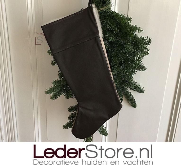 Koeienhuid kerstsok bruin wit 50x24cm
