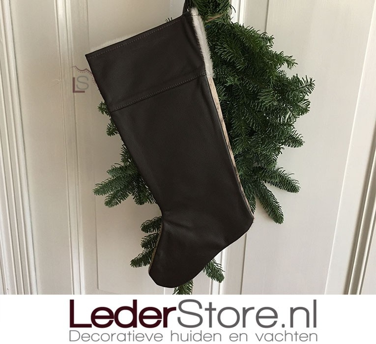 Koeienhuid kerstsok bruin zwart 50x24cm