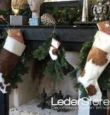 Cowhide Christmas stocking brown white 50x24cm
