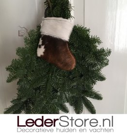 Cowhide Christmas stocking brown black white 15x14cm