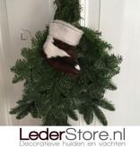 Koeienhuid kerstsok bruin zwart wit 15x14cm
