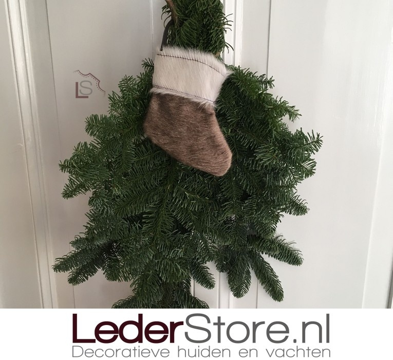 Cowhide Christmas stocking taupe white 15x14cm