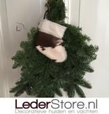 Cowhide Christmas stocking brown white 15x14cm