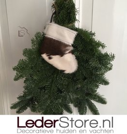 Cowhide Christmas stocking brown white 15x14cm