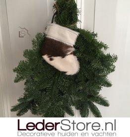 Koeienhuid kerstsok bruin wit 15x14cm