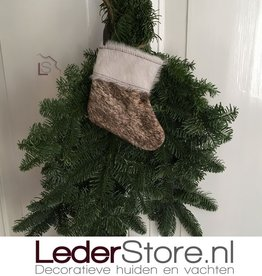Cowhide Christmas stocking brown beige white 15x14cm