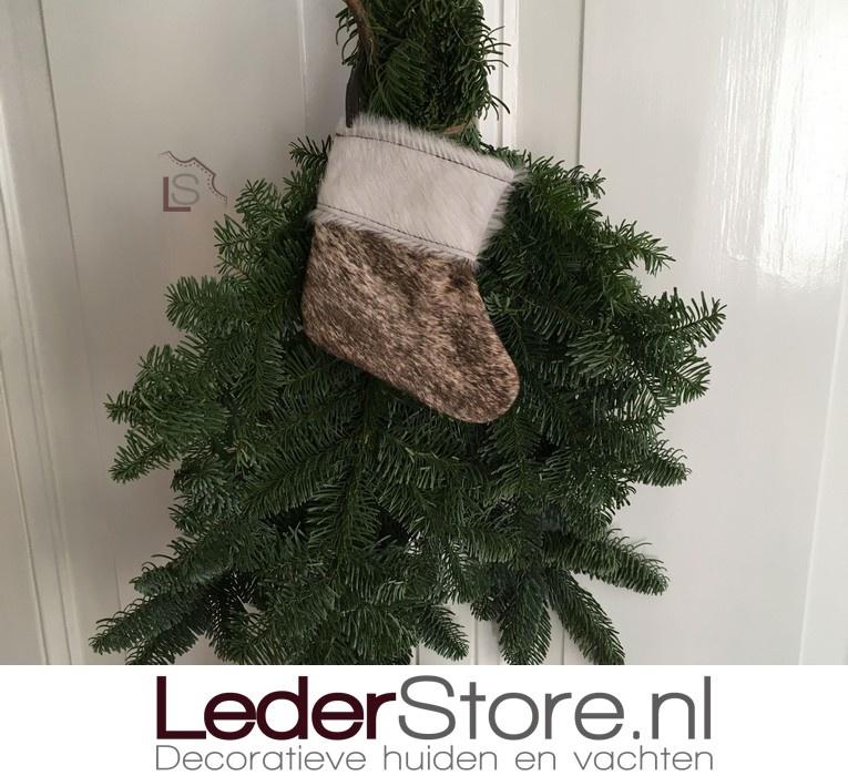 Cowhide Christmas stocking brown beige white 15x14cm