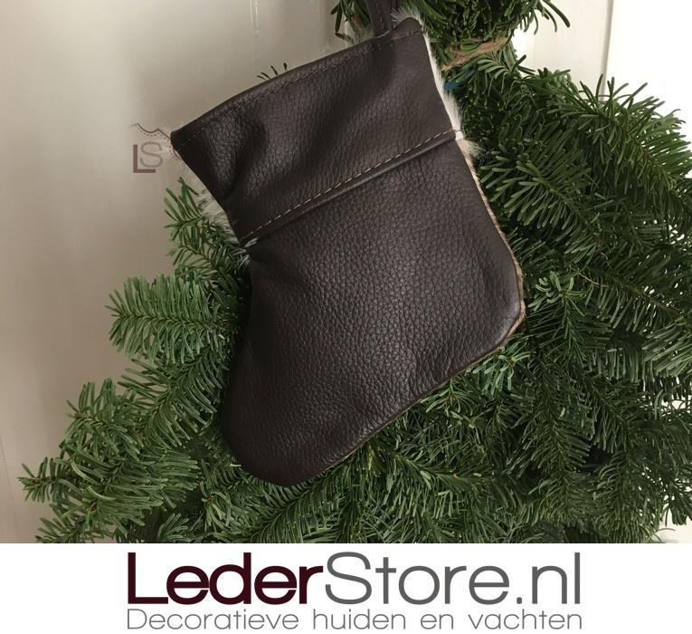Cowhide Christmas stocking taupe white 15x14cm