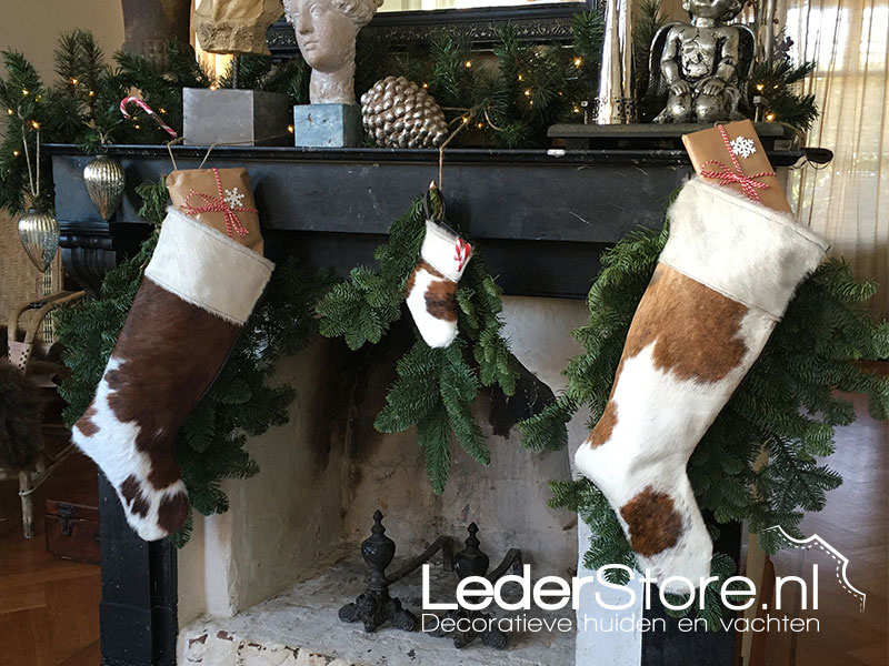 Cowhide Christmas stocking brown black white 15x14cm