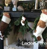 Koeienhuid kerstsok taupe wit 15x14cm