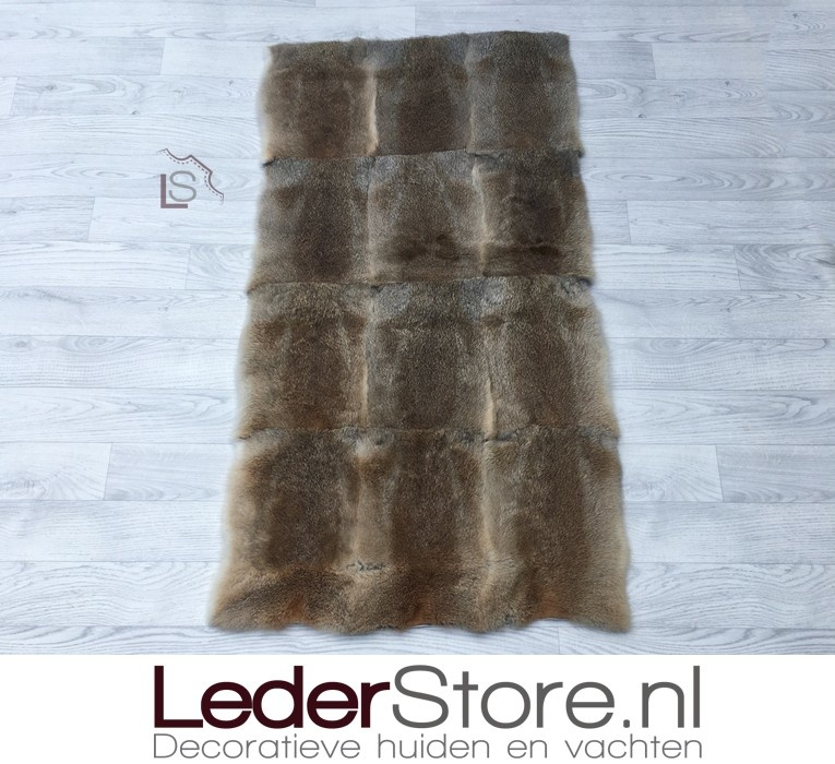 Konijnenvacht plaid bruin 120x65cm