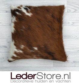 Koeienhuid kussen zwart wit bruin normandier 40x40cm