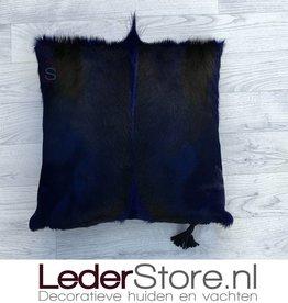 Springbok kussen blauw geverfd 45x45cm